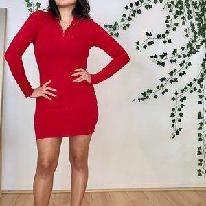 Red Turtleneck Knit Dress — Topshop